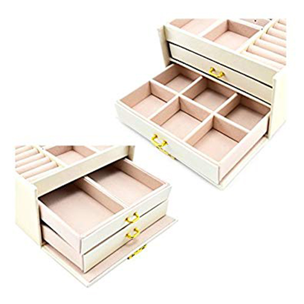Jewelry tools box for earrings rings Storage Organizer jewelry and cosmetics beauty case with 2 drawers