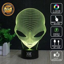 هوى يوان العلامة التجارية USB 3D مصباح البصرية الوهم الجدة ليلة ضوء المريخ رجل مصابيح عطلات متوهجة الأطفال هدية الكريسماس