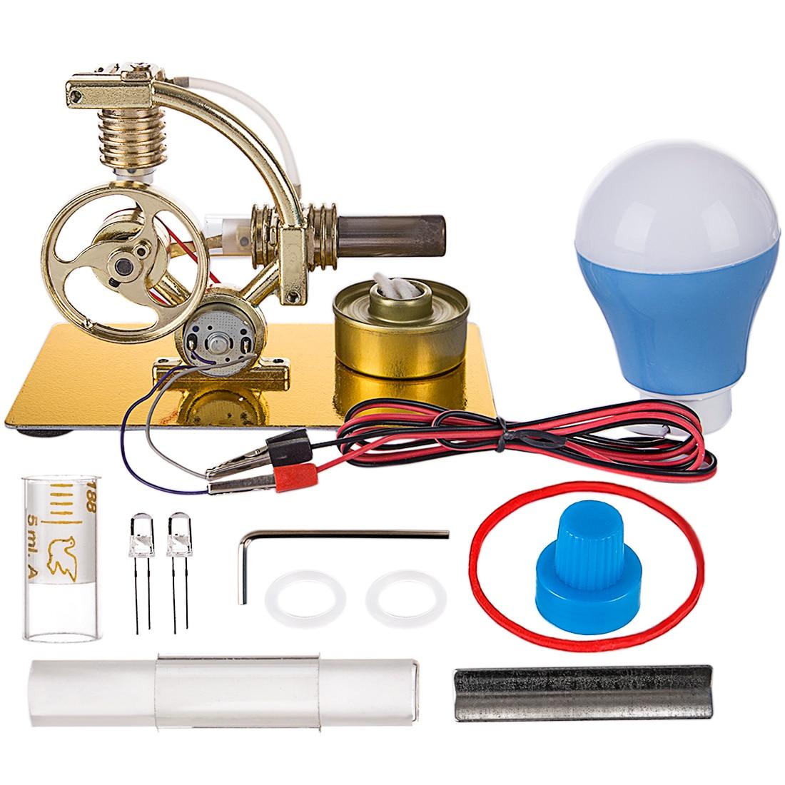 L Shape Single Cylinder Stirling Engine Model All metal Base Big Bulb Color Random Model Building
