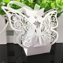 20Pcs/set Butterfly Party Wedding Candy Hollow Boxes Favor Ribbon Birthday