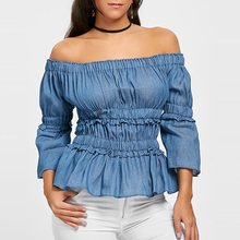 Off Shoulder Blouse Women Brand 2019 New Vintage Blue Denim Sexy Tops Pleated Street Fashion Ladies Chic Casual Summer Blouses