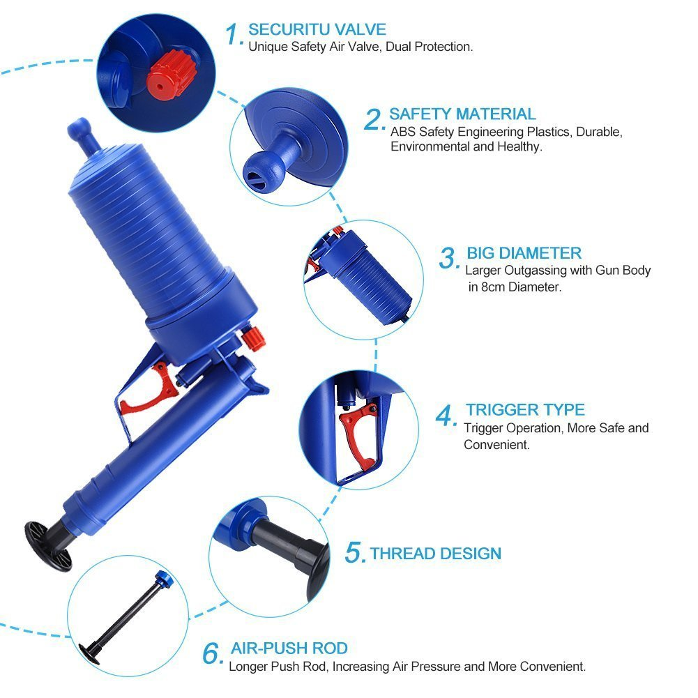 Household Chemicals Trend Mark Air Power Drain Blaster Gun High Pressure Powerful Manual Sink Plunger Opener Cleaner Pump For Bath Toilets Bathroom Shower Ki