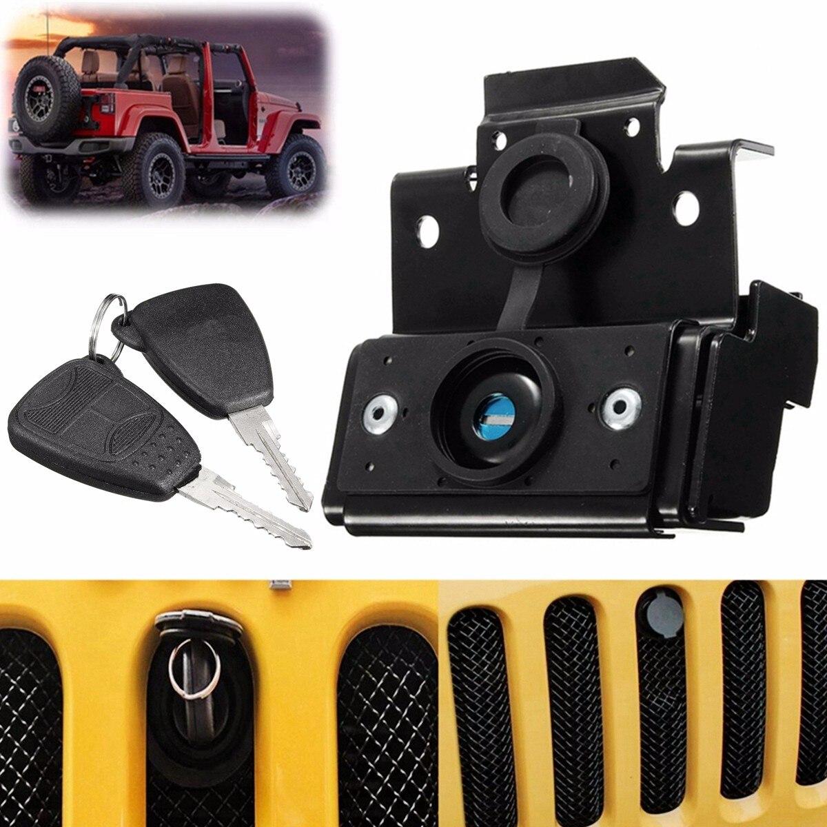Черный Замок капота автомобиля Противоугонный ключ безопасности комплект в сборе для Jeep для Wrangler JK 2007-2016 автомобильные аксессуары запасные...