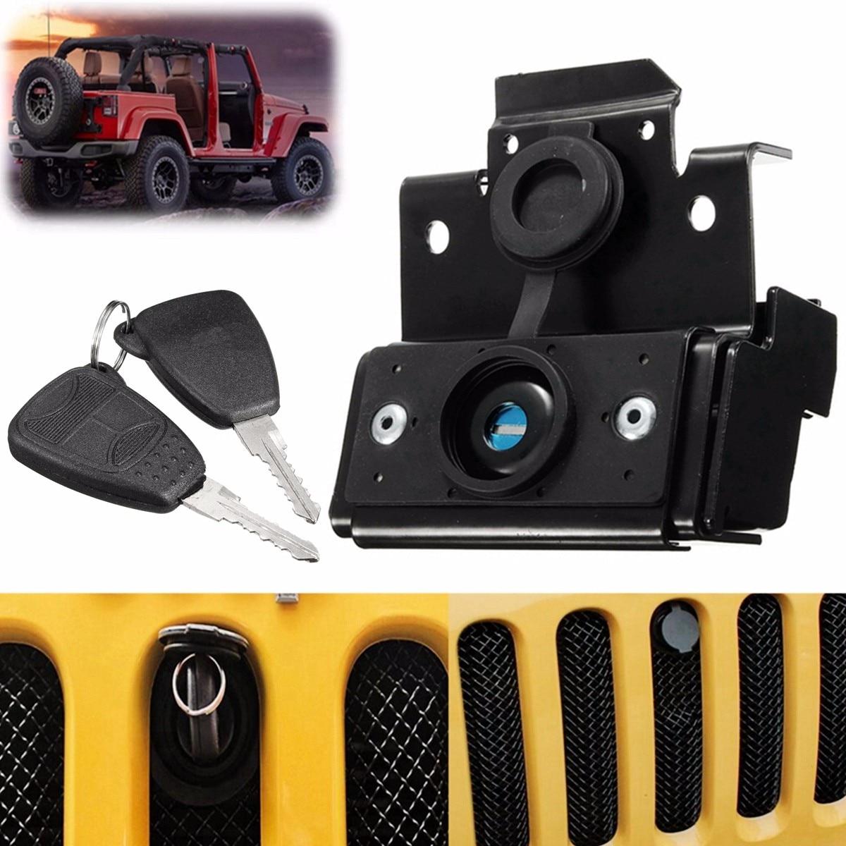 Черный капот замок автомобиля Противоугонная безопасность комплект ключей сборка для Jeep для Wrangler JK 2007-2016 автомобильные аксессуары запасны...