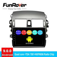 FUNROVER android 9.0 2 din car dvd gps multimedia player For Toyota Corolla E140/150 2008 2013 radio navi navigation 2.5D DSP 4G