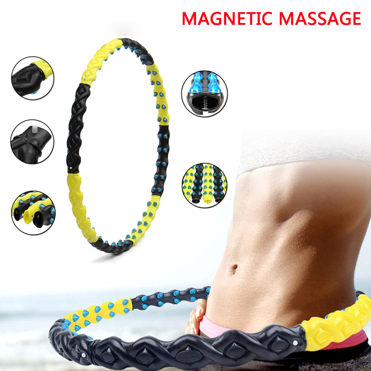 Detachable 80 Massage Balls Health Circle Magnet Weighted Fitness Exercise Diet Body Building Equipment korea orginal health hoop passion magnetic weighted hula hoop massage exercise fitness advance step 4 made in korea