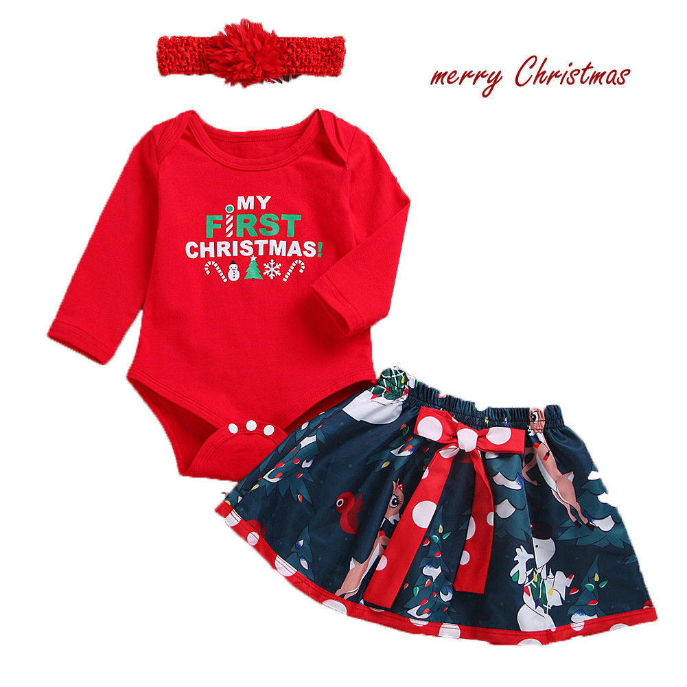 3pcs/set Christmas Baby Girl Clothing Newborn Baby Girl 1st Xmas Clothes Outfits My First Christmas Romper +Skirts+Headband