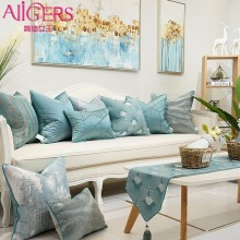 Avigers European Jacquard Pillow Cover Home Decor Cushion Covers Blue Pillowcase Decorative Pillows for Sofa Bedroom Living Room цены