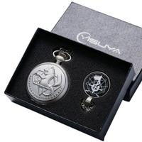 Vintage Fullmetal Silver Pocket Watch Alchemist Pocket Watch Clock Pendant Necklace Chain Christmas Gifts For Girls Boys