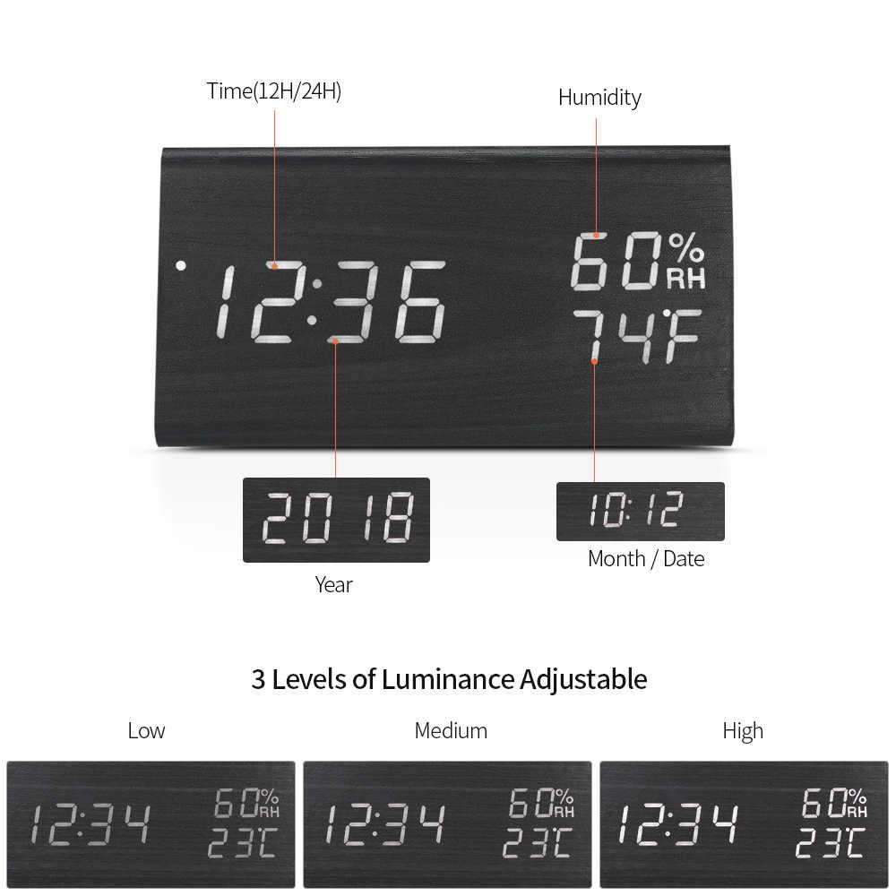 Деревянный цифровой будильник светодиодный Будильник USB/питание от батареи диммер комнатный гигрометр термометр часы со звуковым управлением