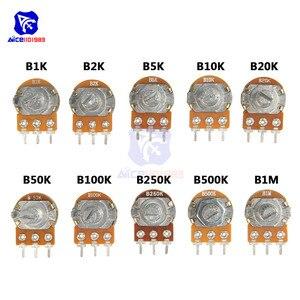 WH148 1K 2K 5K 10K 20K 50K 100K 250K 500K 1M Ω 3Pin Knurled Shaft Linear Taper Rotary Potentiometer Resistor w/Knob for Audrino