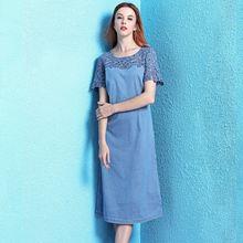 Женское джинсовое платье с кружевной отделкой однотонное облегающее