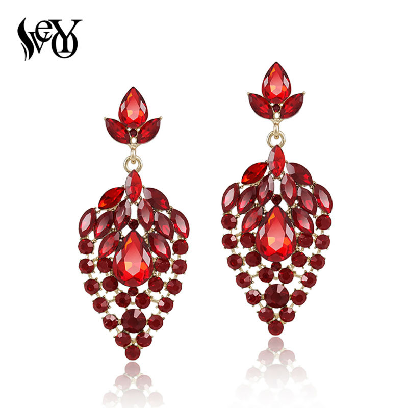 VEYO Trendy Full of Rhinestone  Earrings For Women Luxury Crystal Drop Earrings  Gift