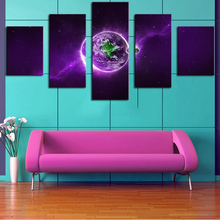 5 Panel purple-space-planet Modern Home Wall Decor Canvas Picture Art Print WALL Painting Set of Each Arts Unframe