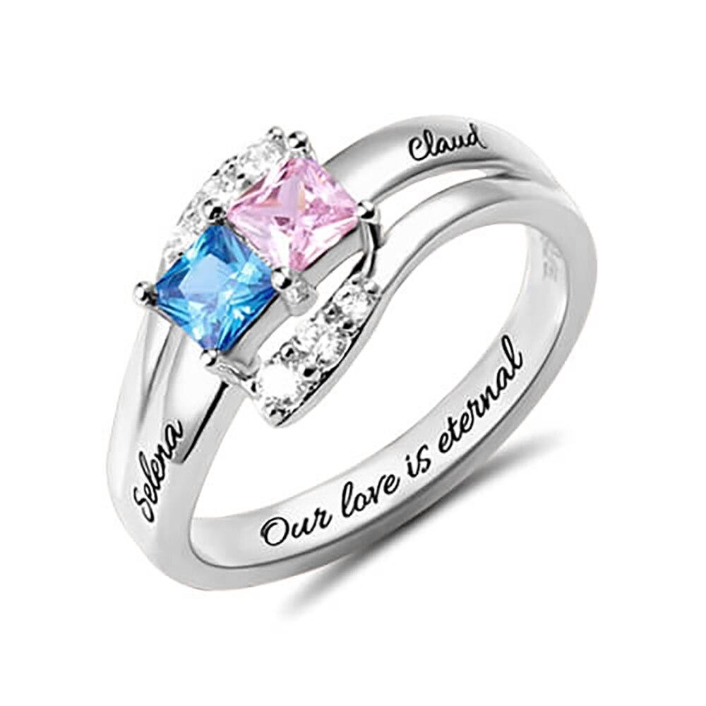 Sweey Atacado Fábrica de Jóias Exclusivas Gravado Dois Birthstones Casal 925 Anéis de Prata para As Mulheres Presente Dos Valentim