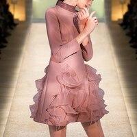 См. оранжевое очаровательное румяное розовое весенне летнее платье с перьями из органзы с оборками платье с запахом женское бохо платье SO4444