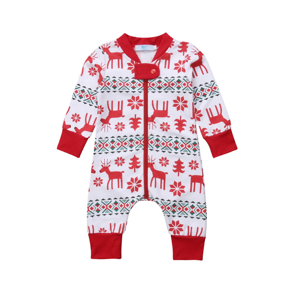 pudcoco Newborn Baby Boys Girls Cotton Xmas Zipper   Romper   Jumpsuit Outfits Set baby girl boy christmas xmas   romper   baby girl boy