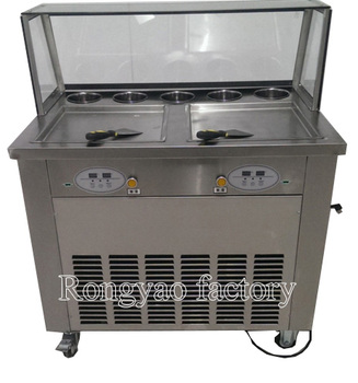 2 pan Ice cream fryer roller machine computer control pan roller Ice Cream Roller rolling Rolled Flat fried ice cream machine 110v ice cream roll machine square pan with fry ice cream machine free ship by sea