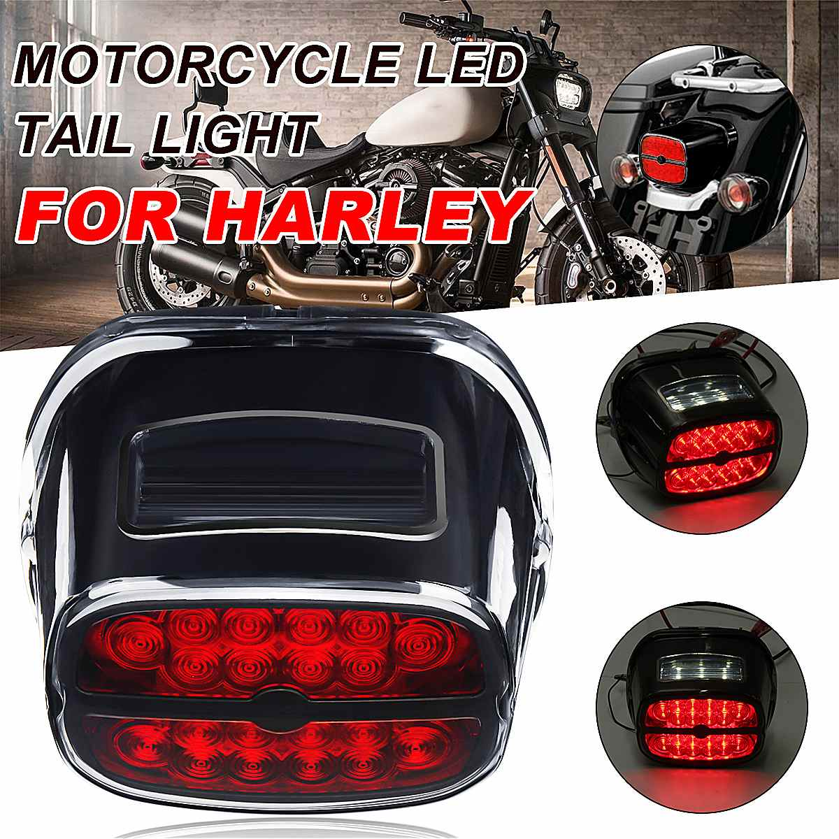 Motorcycle LED Tail Light Rear Brake Lights Turn Signal Number License Plate Lamp For Harley Fat Boy Road KingMotorcycle LED Tail Light Rear Brake Lights Turn Signal Number License Plate Lamp For Harley Fat Boy Road King