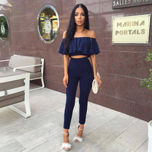2 Pcs Womens Sexy Slash Collar Ruffles Sleeve Top + Pants Casual Two-piece Suit