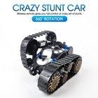 RC Tank Remote Control Car Remote Controlled Car Magic Track Fast Toys 360° Flip Stunt Car Kid Toy With Flashing Lights Black