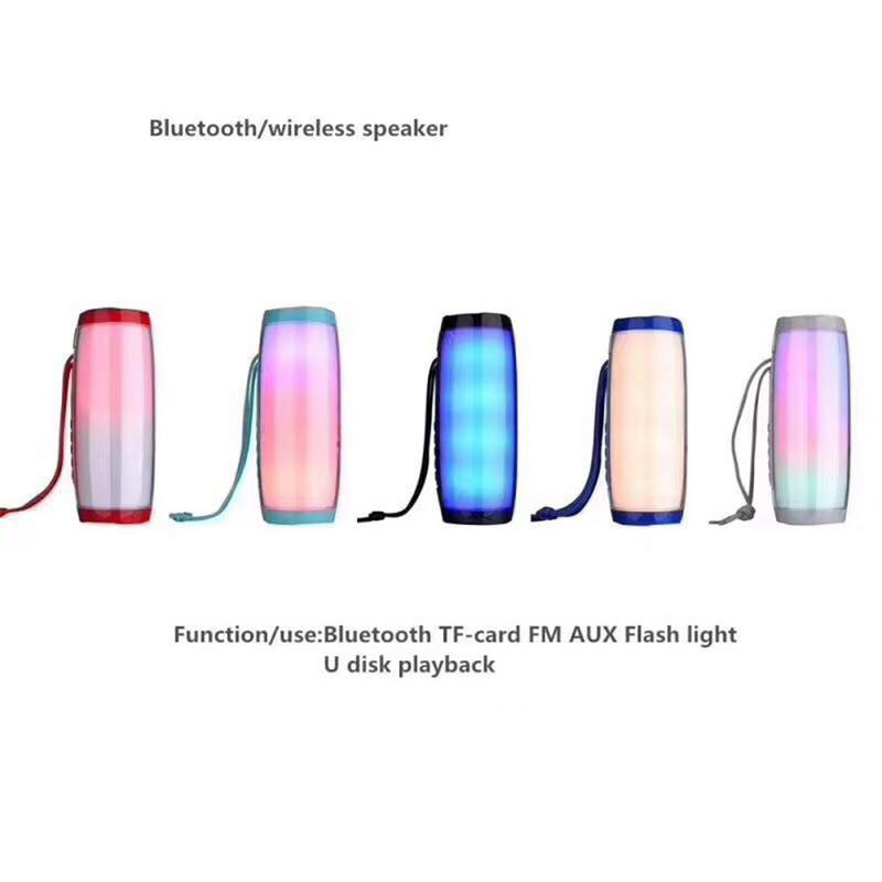 Led-Speaker Bluetooth Portable Outdoor Waterproof Wireless Gift AUX FM Tf-Card Universal