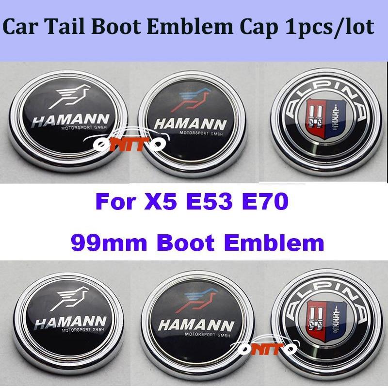 99mm Carbon stickers 1pcs Label Car Tail Boot Emblem Cap Auto Rear Trunk Logo Cover For bmw X5 E70 E53 Alpina Badge car styling