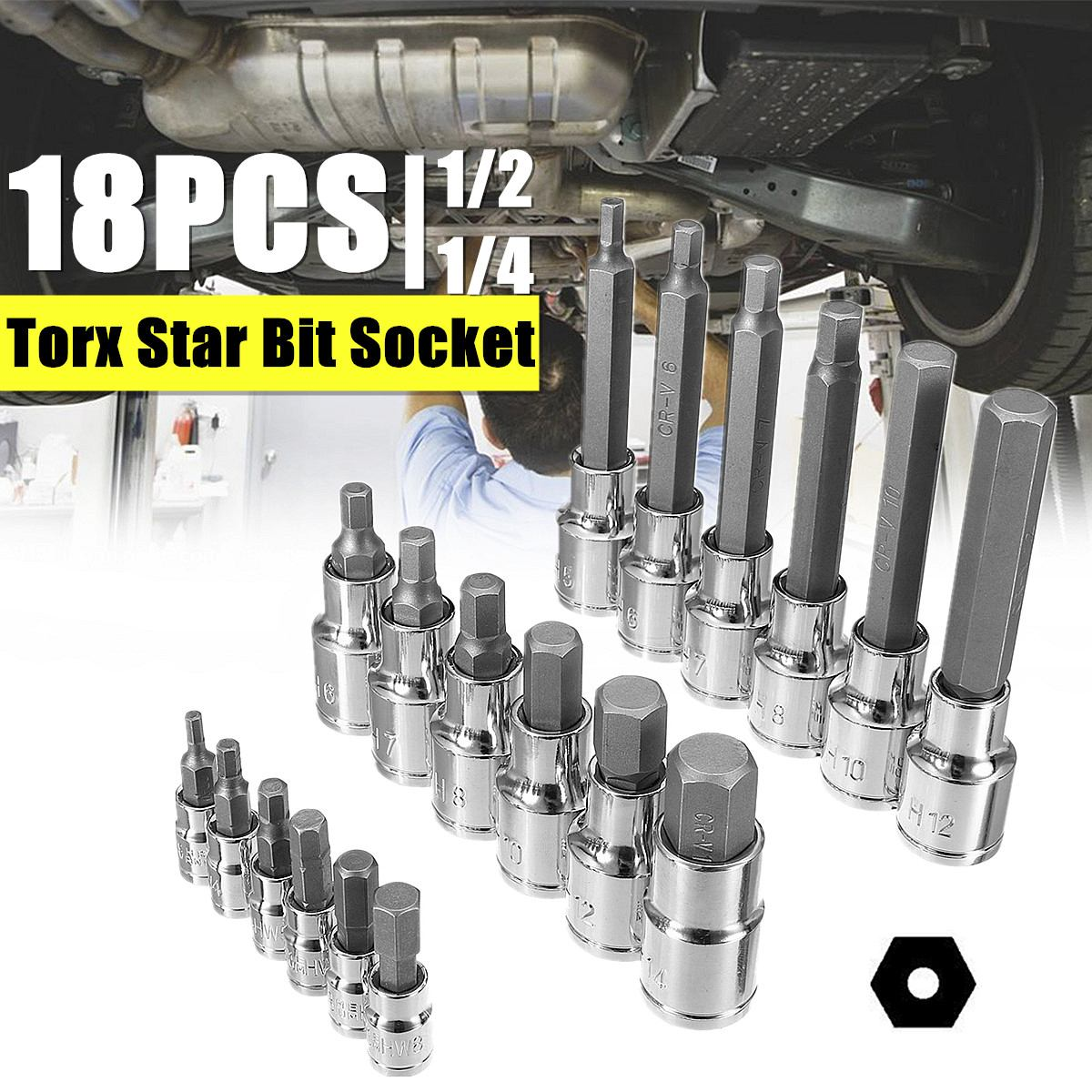 18pc Torx Star Bit Socket Garage Workshop Tool Set 1/2 1/4 inch Long Drive Professional Durability for Locomotive Assembly18pc Torx Star Bit Socket Garage Workshop Tool Set 1/2 1/4 inch Long Drive Professional Durability for Locomotive Assembly