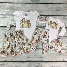 PUDCOCO Baby Girl Little Big Sister Match Clothes Romper T-shirt Pants Tutu Dress Outfit pudcoco children clothing little brother bodysuit and big sister t shirt matchables summer outfits