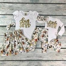 PUDCOCO Baby Girl Little Big Sister Match Clothes Romper T-shirt Pants Tutu Dres