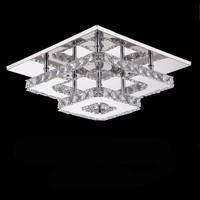 New square crystal led Chandeliers High power 36W led lamps living room Chandelier Stainless steel led lustre light Chandelier