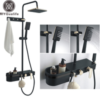 Luxury Black Rainfall Shower Faucet Bathroom Storage Shelf Bath Shower Set with Handshower Tub Spout Bath Shower Mixer Tap