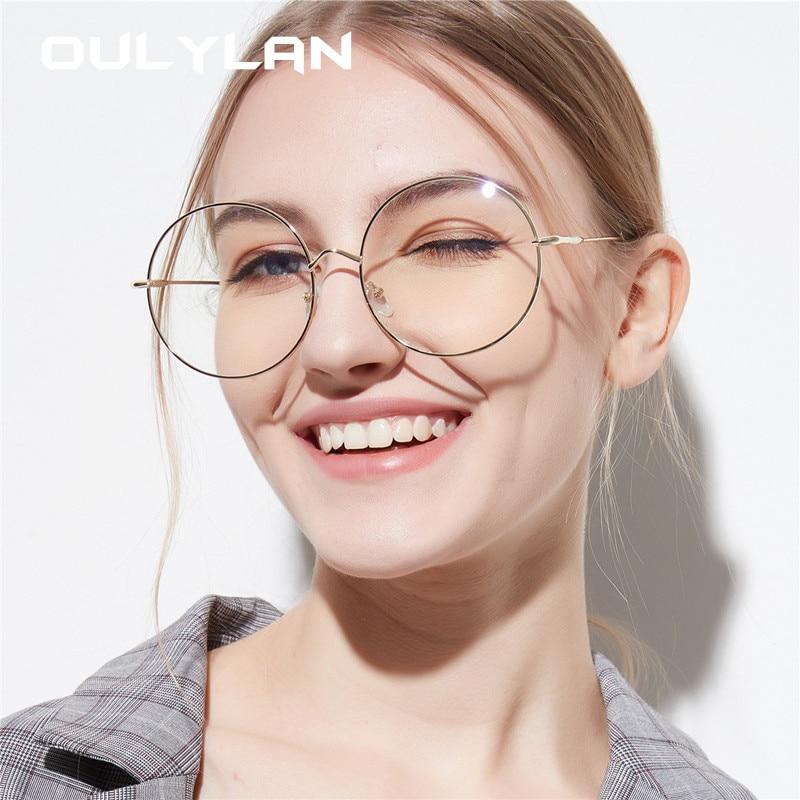 Oulylan Oversized Glasses Frame Women Round Style Transparent Metal Glasses Spectacle Vintage Black Optical Eyeglasses Frames