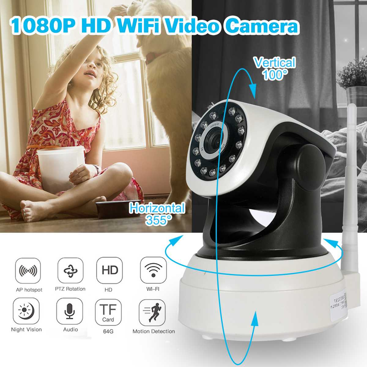 HD 1080P 2MP 720 1MP Home Security IP Camera Wireless PTZ Mini Video Nanny CCTV Wifi IR Baby Monitor Audio Record Wifi CameraHD 1080P 2MP 720 1MP Home Security IP Camera Wireless PTZ Mini Video Nanny CCTV Wifi IR Baby Monitor Audio Record Wifi Camera