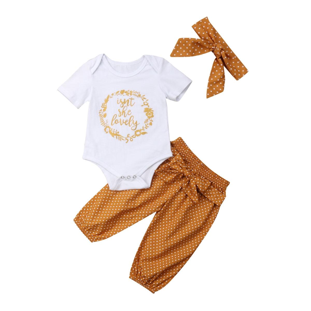 0-18 M Neugeborenen Baby Junge Mädchen Kurzarm Baumwolle Body Tops Dot Lange Hose Hosen Stirnband 3 Pcs Outfits Sommer Kleidung Set Einfach Zu Verwenden