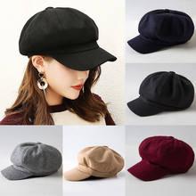 De moda de mujeres invierno sombrero boina tapa octogonal pintor coreano  boinas sombrero de Slouch gorro 1752c54e846