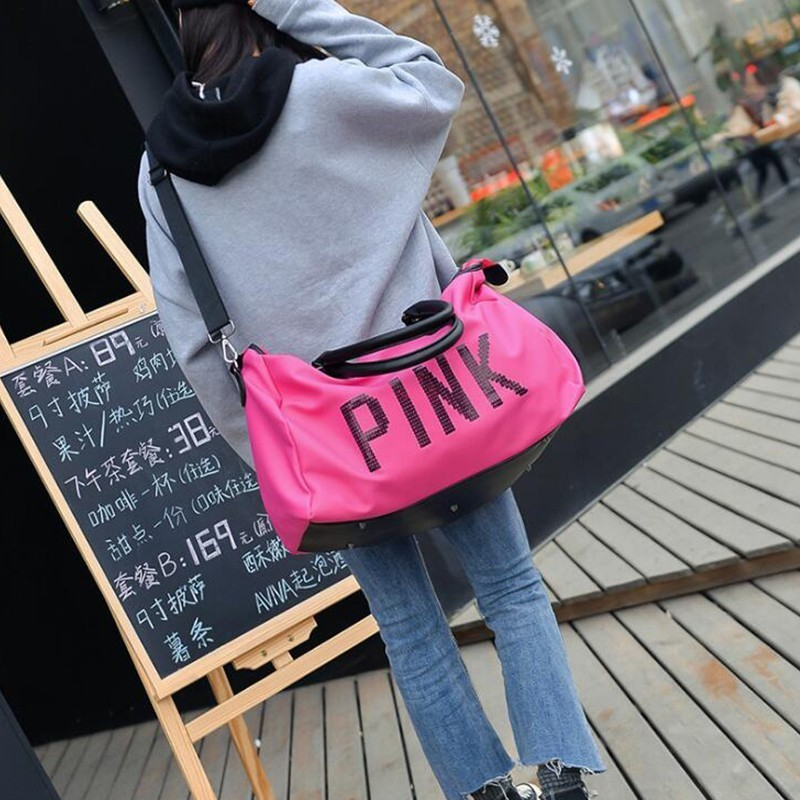 6c7c26cd5b Weekend Women Large Capacity Travel Bag Pink Sequin Vs Gym Tote Luggage  Organizer Big Shoulder Bag Duffle Waterproof Handbags