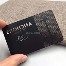 85*54*0.3mm  plated black color metal business card cut out logo printing white words