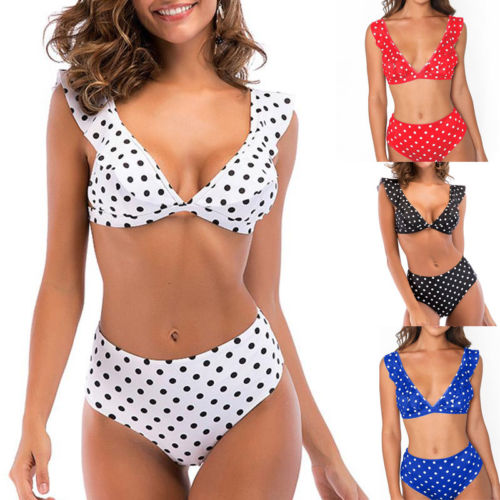 Sexy Frauen Polka Dot Hohe Taille Bikini Set Padded Bh Falte Bandeau Badeanzug Strand Bademode Badeanzug