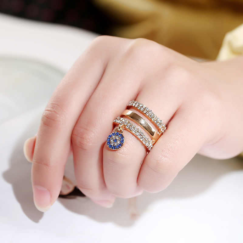 Blue Round Full Crystal Pendant Rings For Women Jewelry Double-deck Wedding Promise Rings For Female Jewelry Zircon Ring For Wom