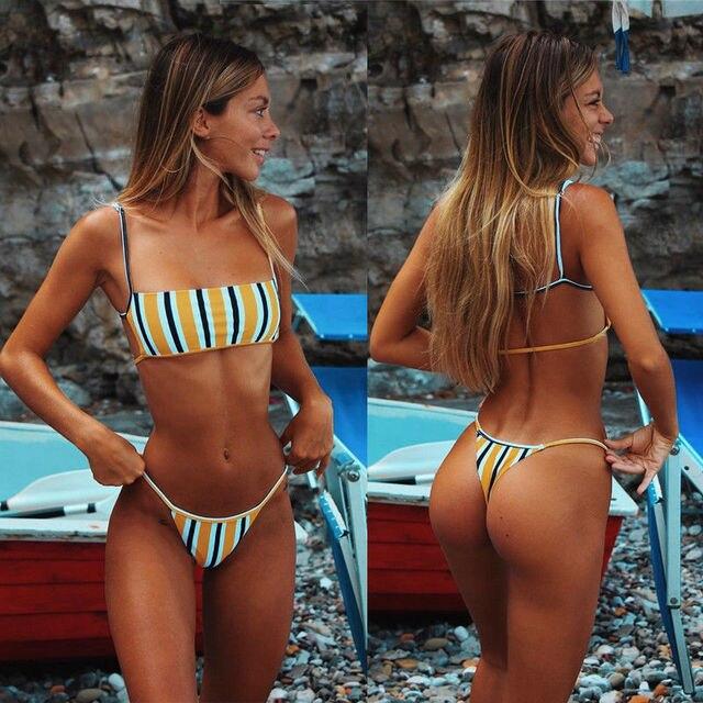 ¡Novedad de 2019! Conjunto de Bikini Hirigin Sext con Tanga para mujer, traje de baño con relleno Push Up, Bikini Brasileño para la playa, traje de baño para mujer