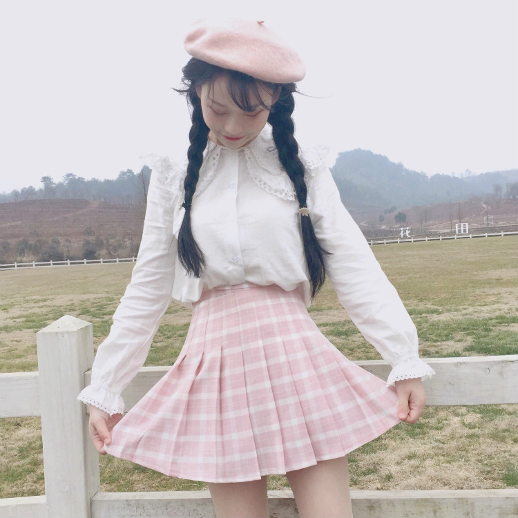 Image 2 - New Spring High Waist Plaid A line Skater Skirts Harajuku Tutu Skirt Japanese School Uniform Kawaii Harajuku Mini Pleated Skirt-in Skirts from Women's Clothing