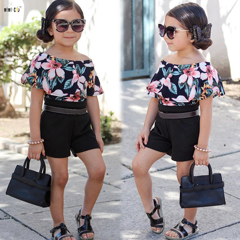 Children Clothing Kids Girls Overalls Summer Short Sleeve Ruffles Floral Printed Overall Girl Jumpsuits 3 4 5 6 7 8 Years