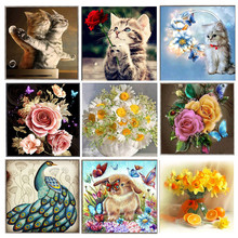 Diy 5d diamond painting cartoon animal flower round diamond mosaic home decoration embroidery pattern cross stitch
