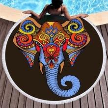 Mandala Round Beach Towel Tassels Indian Elephant Lotus Painting Yoga Mat Microfiber Towel Boho Summer Toalla Bath Large Blanket mandala lotus lotus printed long fringe round beach towel