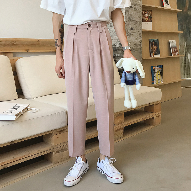 2019 Spring And Summer New Korean Men's Loose Comfortable Fashion Cotton Office Work Plaid Casual Trousers Streetwear