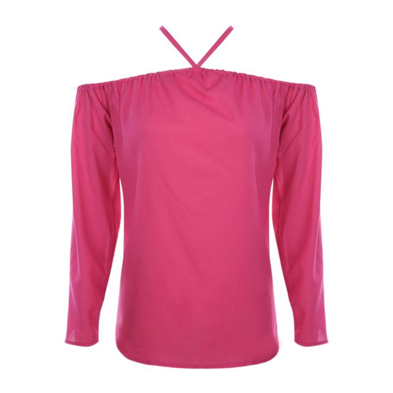 Summer Women Chiffon Sexy Off Shoulder Long Sleeve Solid Color Pullovers Halter Tops Girls Fashion Sexy T-shirt