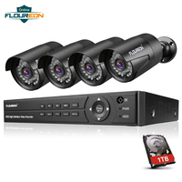 Floureon 8CH CCTV System 4PCS 3000TVL Outdoor Weatherproof Security Camera 1080P DVR Day/Night DVR Kit Video Surveillance System