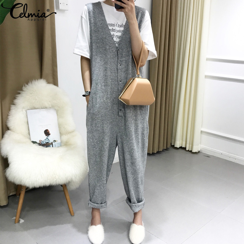 2019 Celmia Rompers Women   Jumpsuit   Retro Deep V-neck Sleeveless Buttons Harem Pants Casual Knitted Playsuits Plus Size Overalls