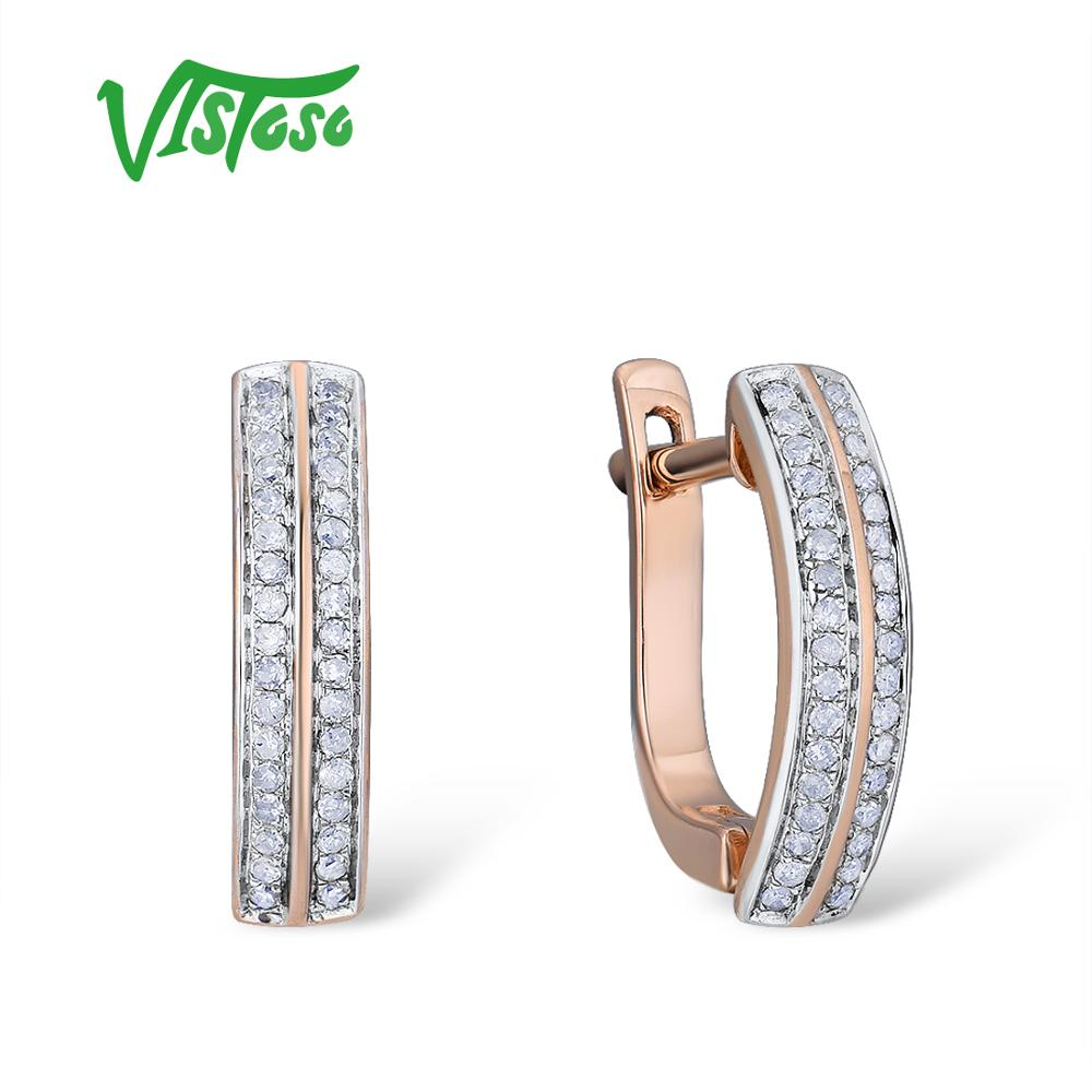 VISTOSO Gold Earrings For Women 14K 585 Rose Gold Sparkling Sparkling Luxury Diamond Wedding Band Engagement
